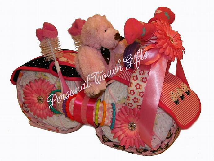 Pink Diaper Cake Motorcycle for Girl