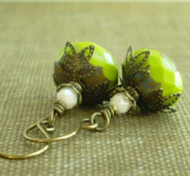 Rustic Stone Chartreuse Glass Drop Earrings