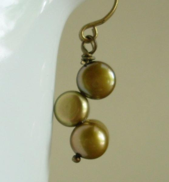 Bronze Olive Button Pearl Earrings