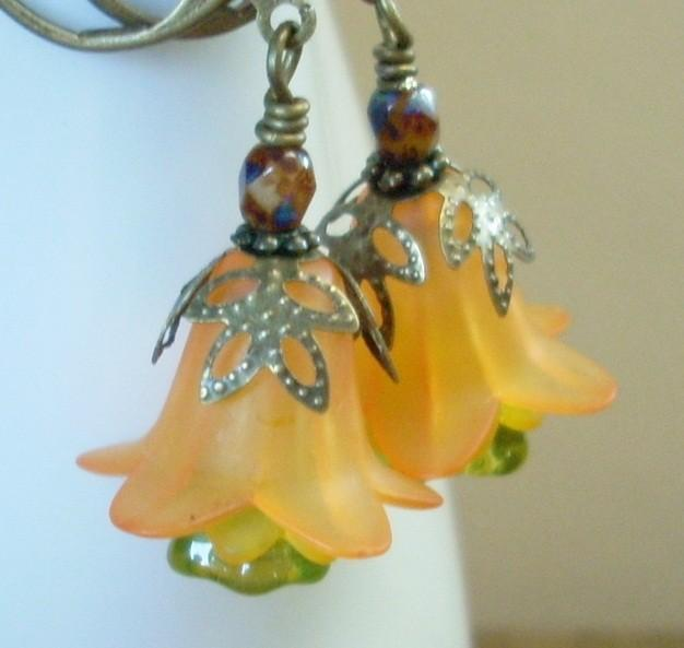 Layered Lucite Flower Earrings in Harvest