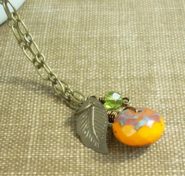 Harvest Necklace - Orange Pumpkin Bead and Brass