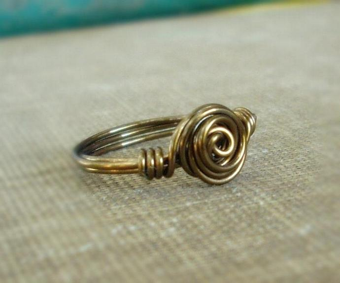 Antique Brass Wire Wrapped Rosette Swirl Ring