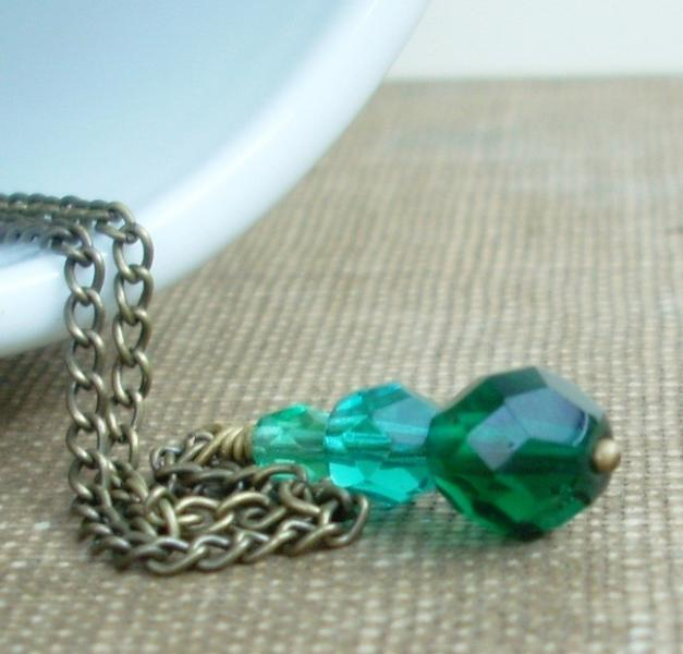 Faceted Glass Bead Trio in Emerald, Deep Teal, and