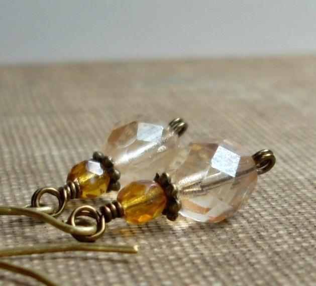 Sparkling Czech Glass Dangle Earrings - Champagne
