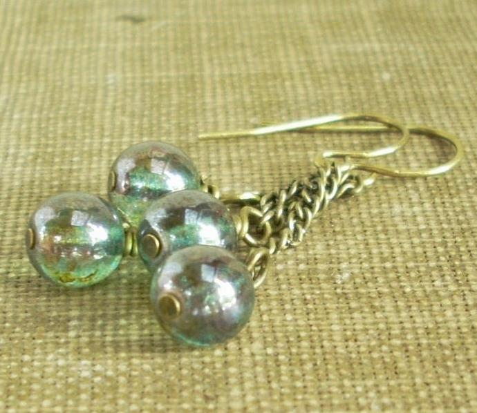 Aqua Forest Globes - Blue Green Glass Dangle Earri