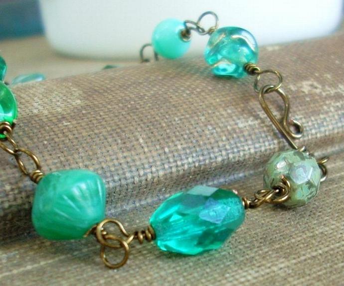 Beaded Link Bracelet with Handmade Clasp - Deep Se