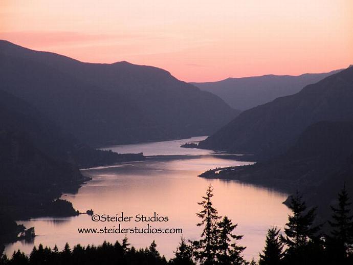 Columbia River Gorge at Sunset, Landscape Art Photograph Print on Metal