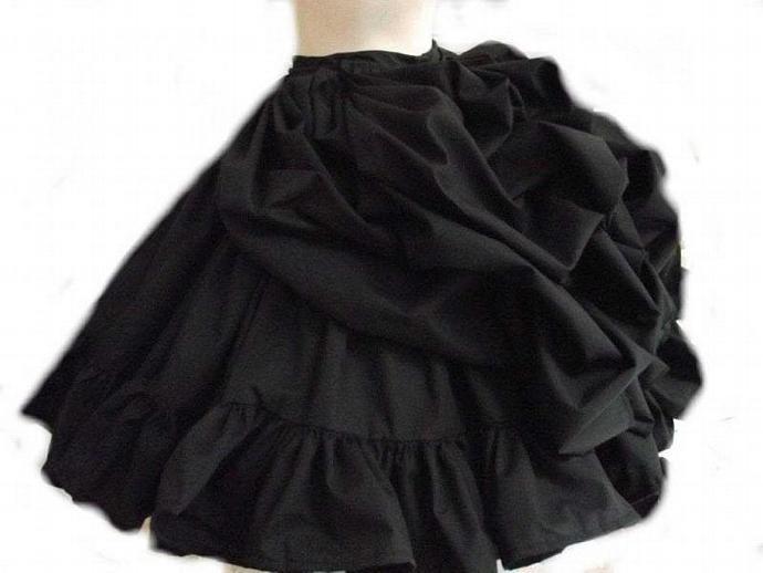 Black Steampunk Skirt Bustle Ruffled Victorian Lolita Gothic Bustled Loli Goth