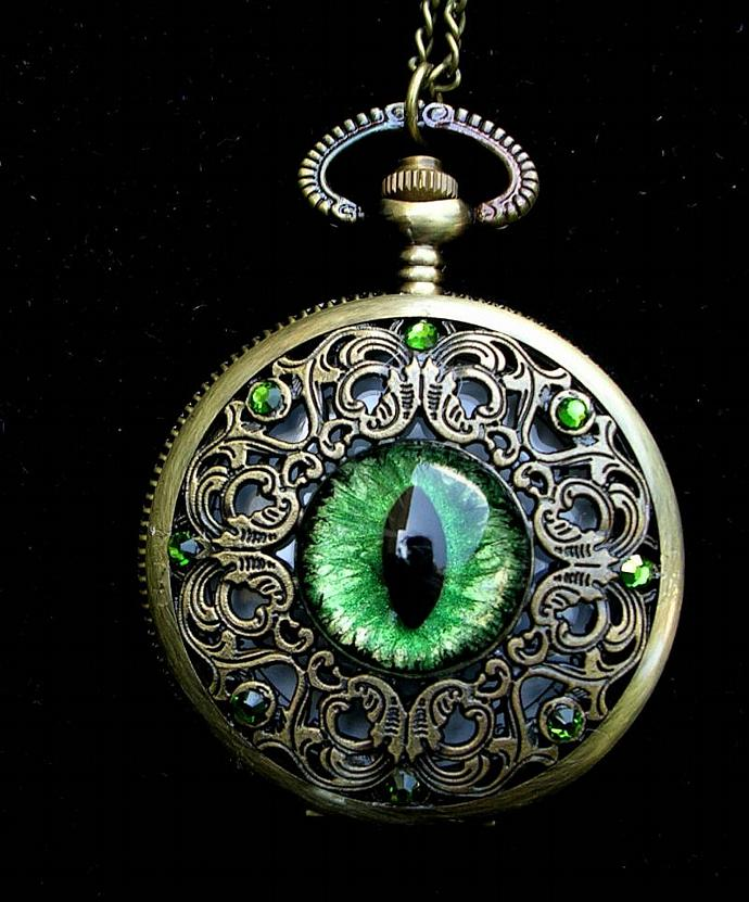 ON LAYAWAY - 25% OFF -  Pocket Watch - Forest Fire Green GLOW - Steampunk