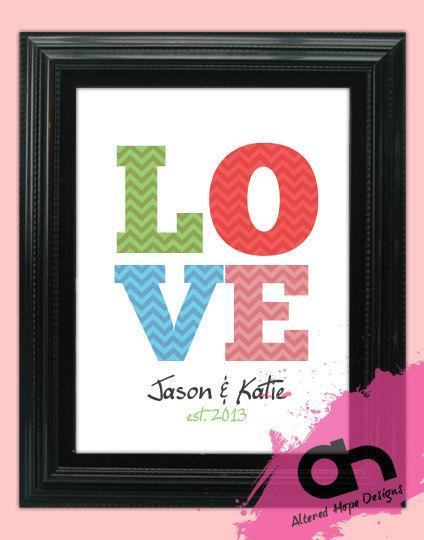 8 x 10 or 11 x 14 inch DIY Personalized Love picture