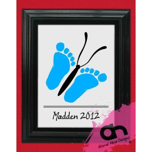 DIY Butterfly Infant Foot print Printable grandparent gift