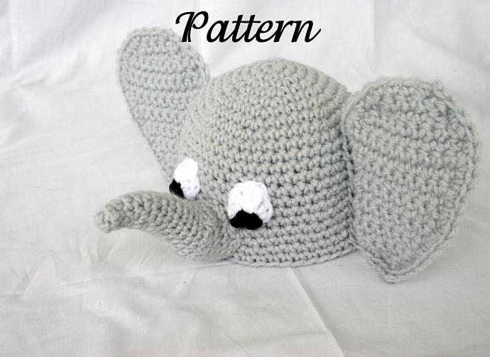 Baby elephant beanie hat PDF Crochet Pattern 0-6 months infant african zoo