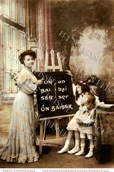 Victorian Teacher Students BLACKBOARD easel FRENCH Kiss CUSTOMIZABLE Invitation