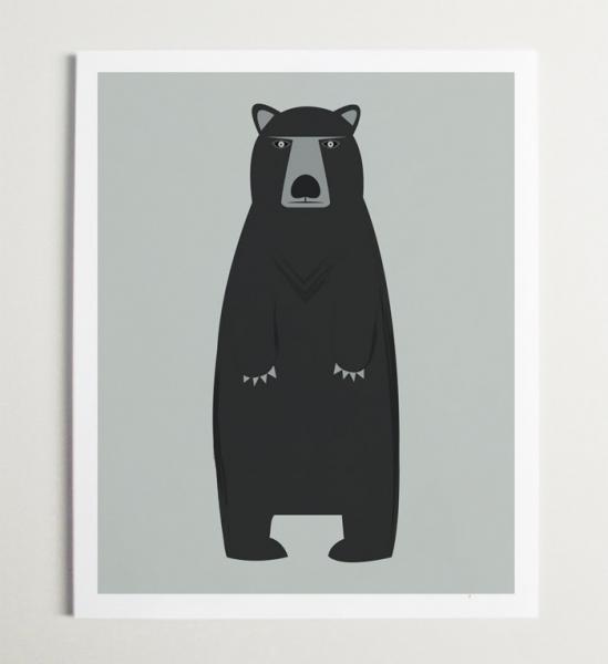 Bear Art Modern Nursery Wall Art for Kids Room