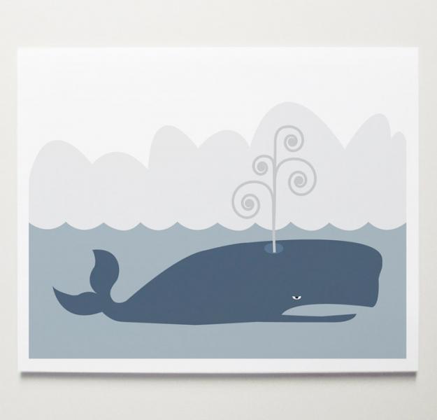 The Whale Nursery Wall Art Print