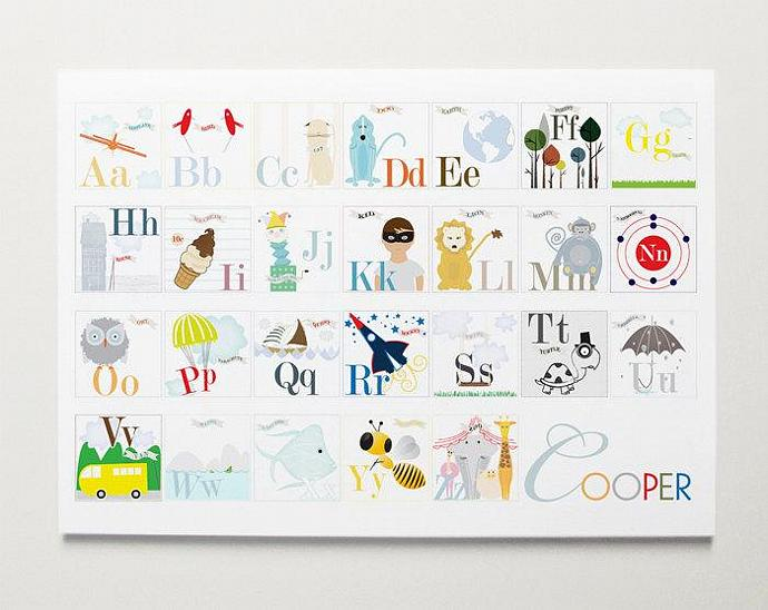 Custom Alphabet Nursery Wall Art Print