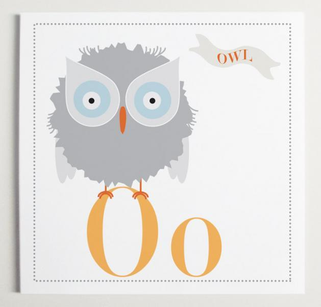 Oo is for Owl Alphabet Print