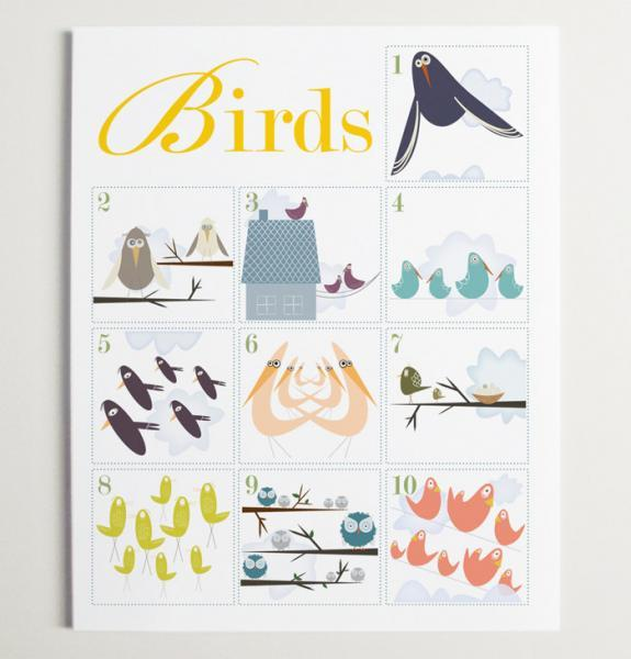 Counting Birds 1-10 Number Nursery Wall Art Print