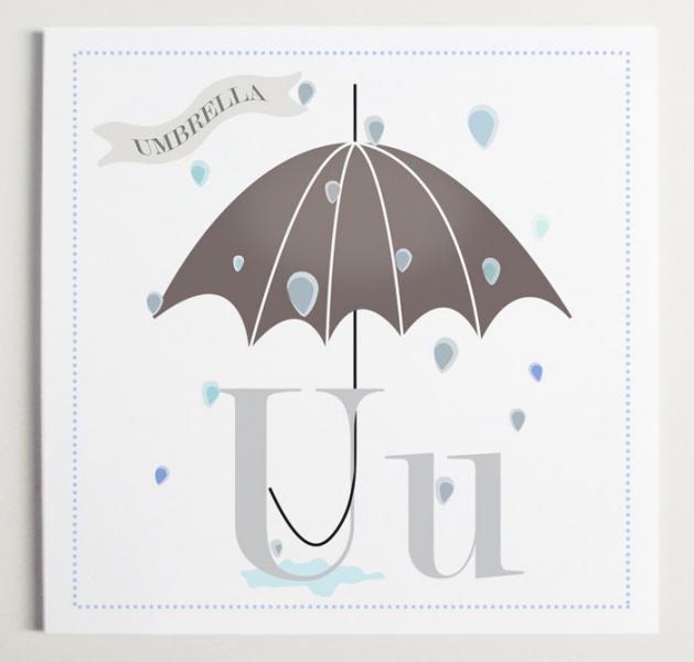 Uu is for Umbrella Alphabet Print