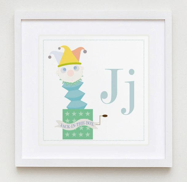 Jj is for Jack -in-the-Box Alphabet Print