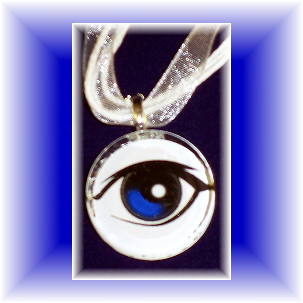 "Glass Tile Pendant EYEBALL very ""EYE-CATCHING"" :) FREE SHIPPING"