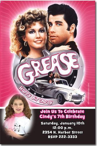 Grease Birthday Invitations **Download JPG Immediately**