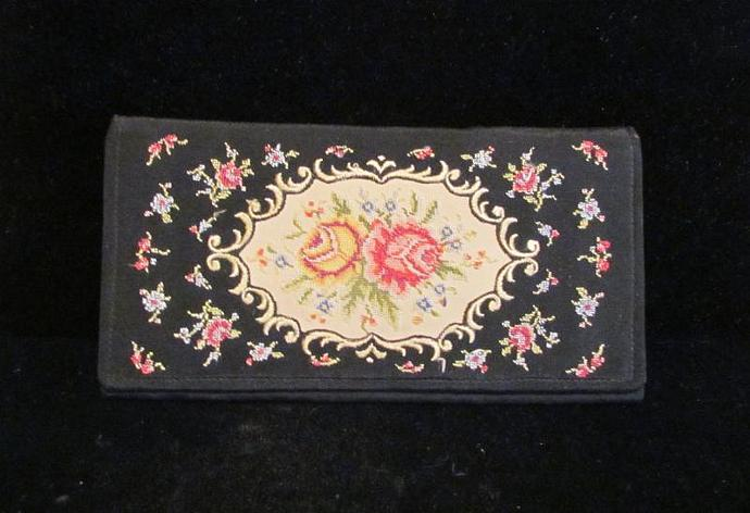 1930's Clutch Floral Petit Point Purse Vintage Wallet Purse West German Purse
