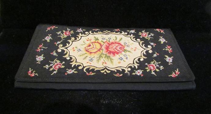 1930's Clutch Floral Petit Point Purse Vintage Wallet Purse West German Purse