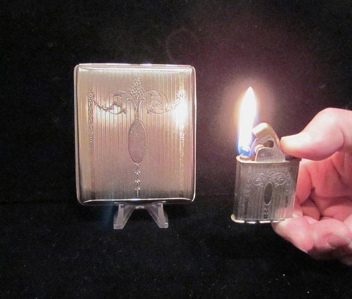 Vintage Evans Cigarette Case And Lighter 1940s Silver Cigarette Case Business