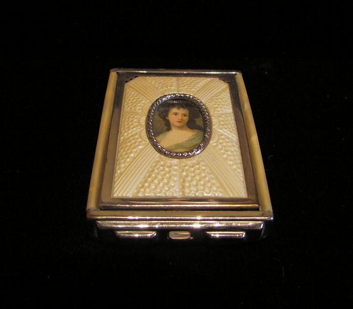 Vintage Girey Powder Compact 1930's Portrait Compact Rouge Compact Mirror