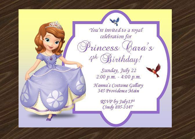 12 Printed Sofia the First Birthday Party by thenotecardlady on Zibbet