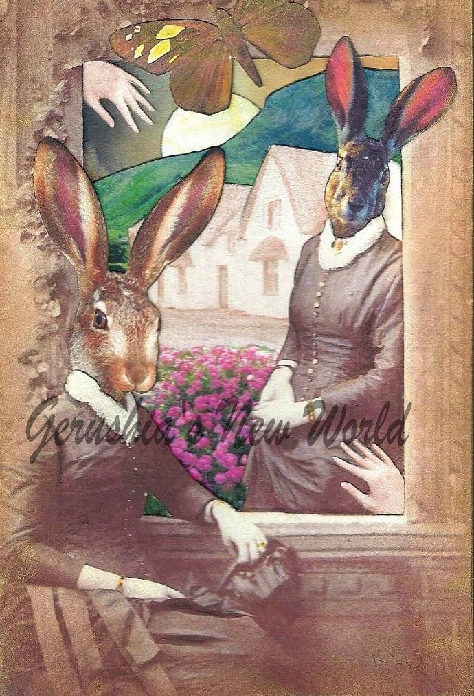 The Window Watchers ~ Anthropomorphic Watercolor Collage Print
