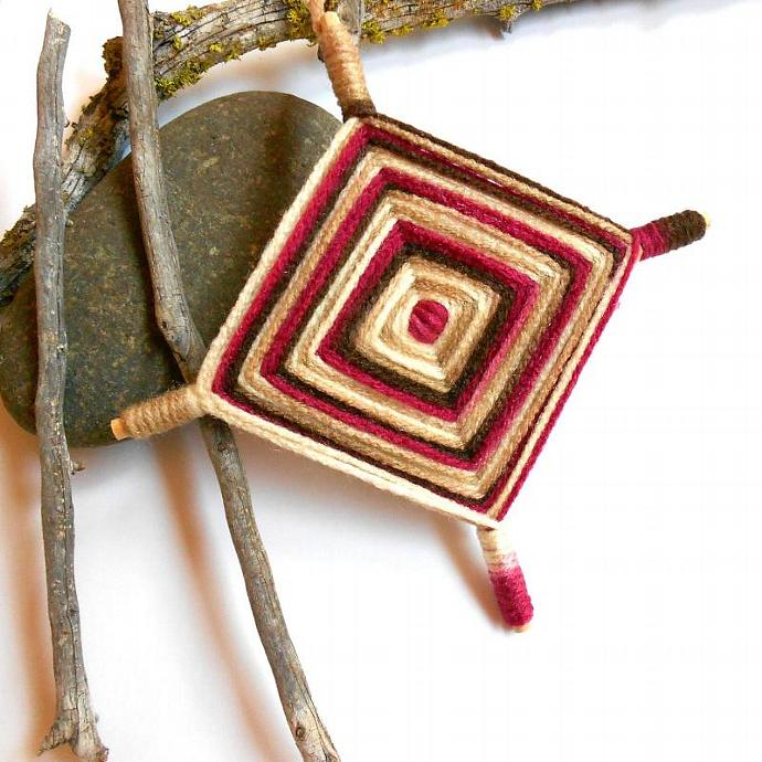 Gods eye Ojo de Dios pink brown ivory and cream color