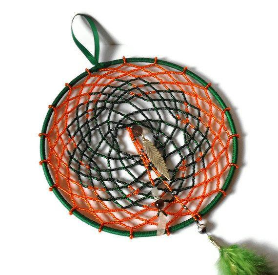 Dreamcatcher beaded in orange and dark green