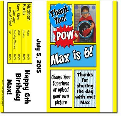 Comic Book Super Heroes Candy Bar Wrappers **DOWNLOAD JPG IMMEDIATELY**