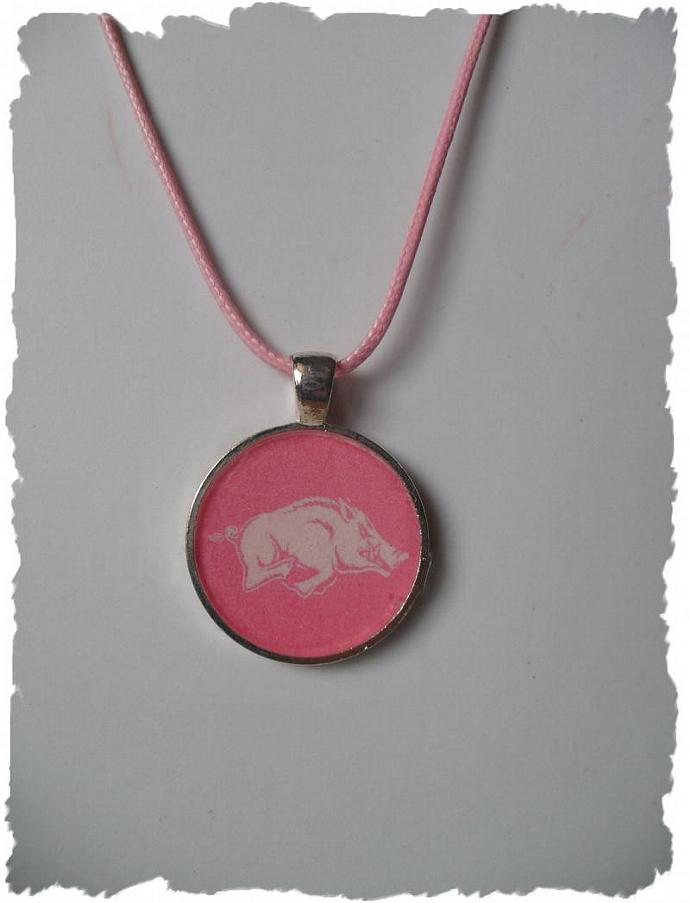 Pink Arkansas Razorback Inspired 1 inch Circle  Pendant Tray Necklace