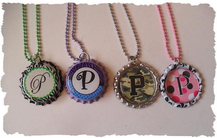 Your Choice Of Initial P Bottlecap Necklace Pick your Style
