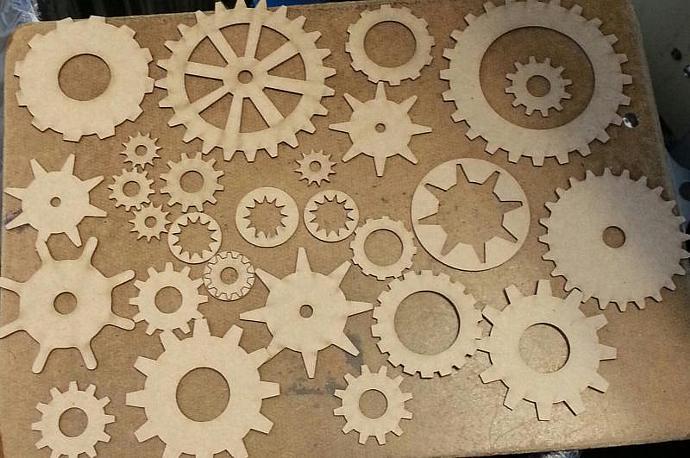 Chipboard Clock gears