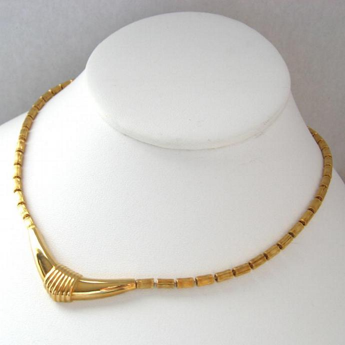 Vintage Monet Signed Gold Deco Bar Pendant Necklace Choker