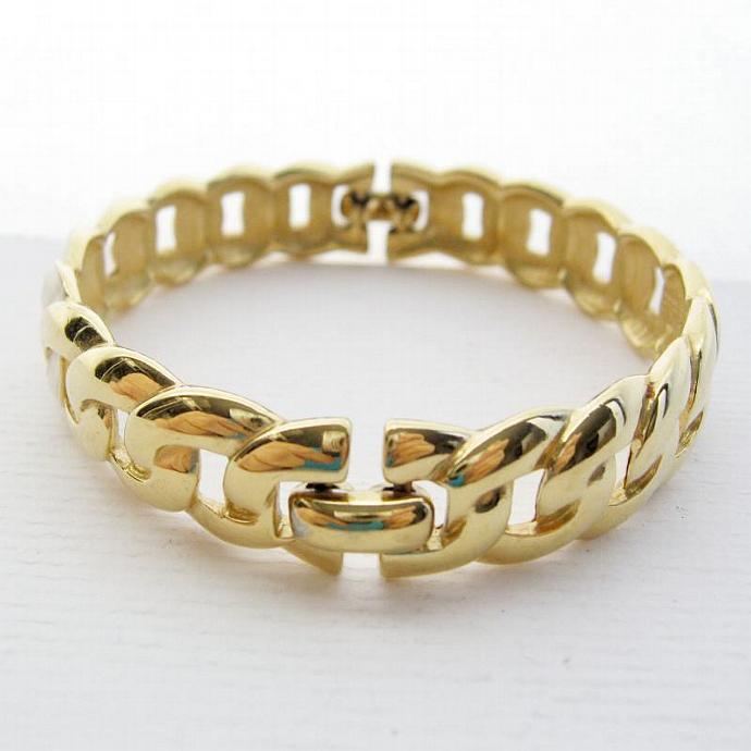 Vintage MONET Signed Enamel Link Bangle Gold White Ivory - Small