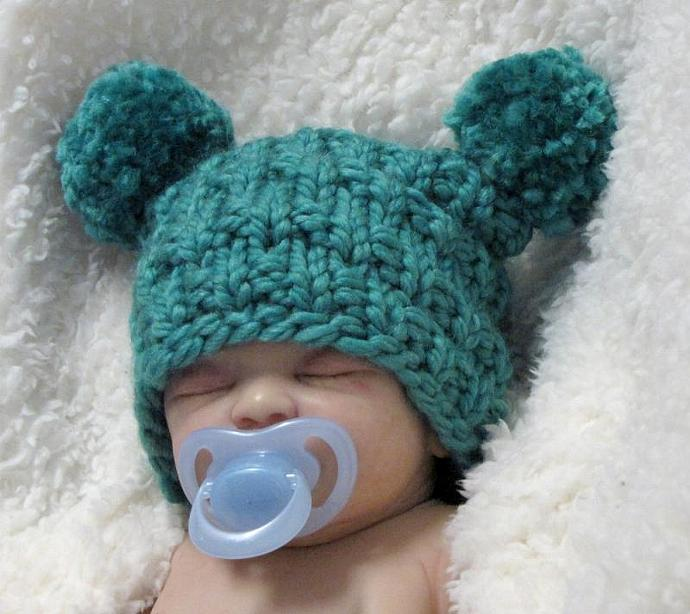 Child s Knit Hat Pattern Bulky Yarn : EZ-Knit Jester Baby Hat Knitting Pattern - ezcareknits