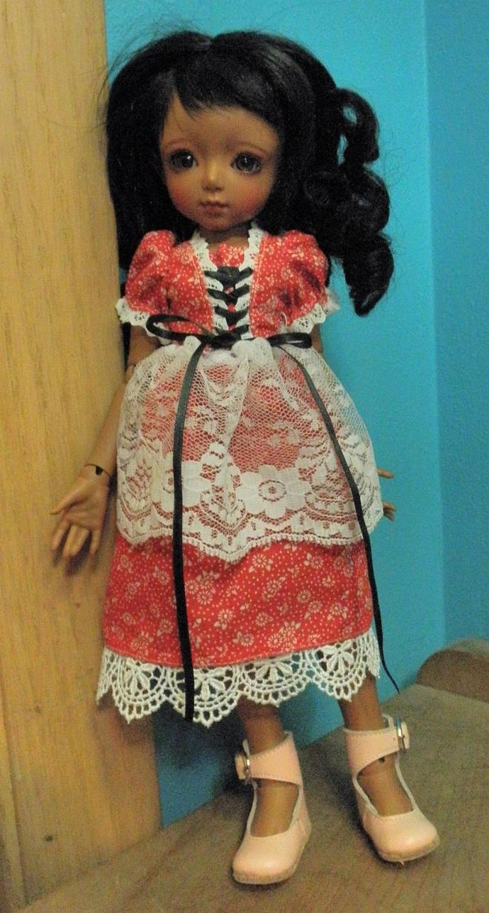 red with white daisies laced front lacy doll dress YO size