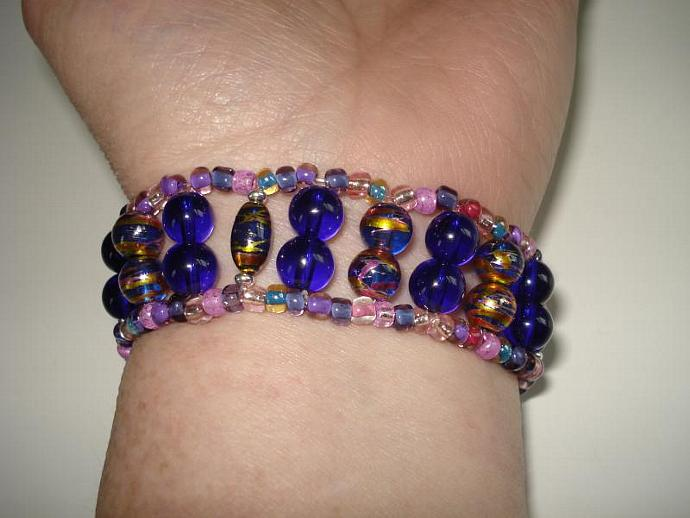 Metallic Swirl, Blue, Pink and Purple Glass Bead Bracelet Watch