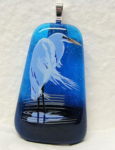 White Crane Glass Pendant Necklace