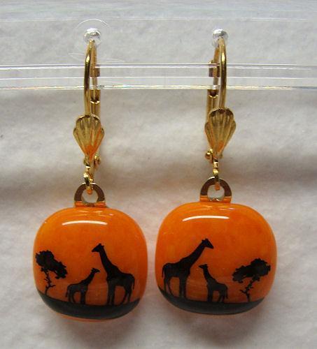 Giraffes At Sunset Handmade Fused Glass Square Pendant/Earring Set