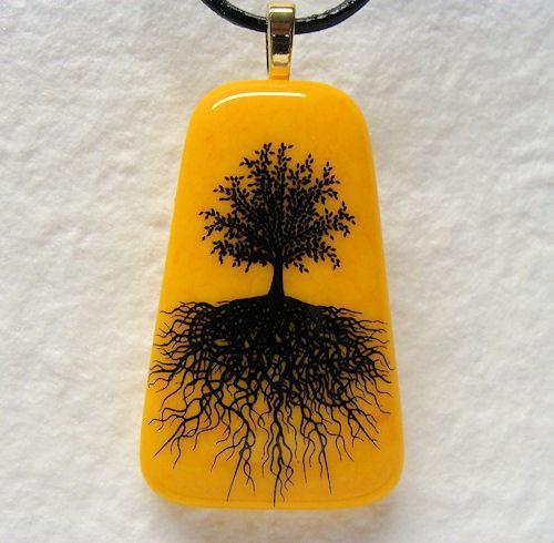 Tree of Life Handmade Fused Glass Trapezoid Marigold Pendant Necklace