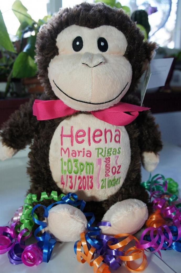 Personalized baby gift baby cubby celebratewiththread personalized baby gift baby cubby huggles the monkey a plush stuffed animal negle Image collections