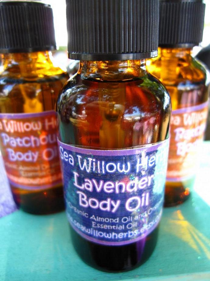 Relaxing Lavender Aromatherapy Body Oil (Organic, Herbal, Natural)