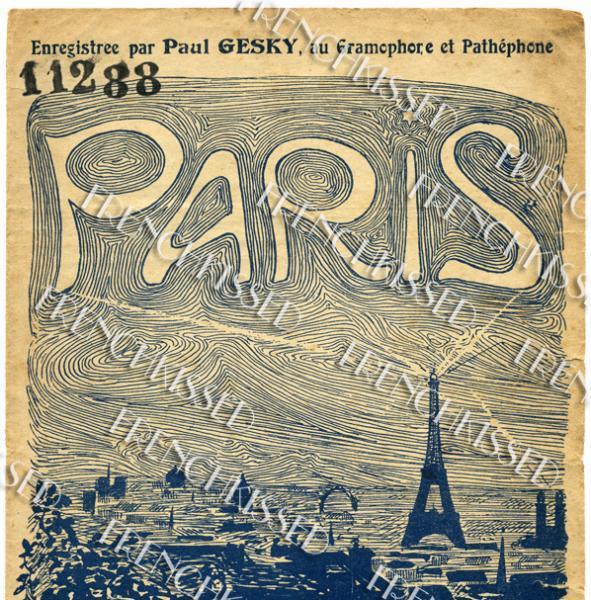 7x11 Inches Wall Art PARIS Eiffel Tower Sheet Music Cover Antique 1919 Digital