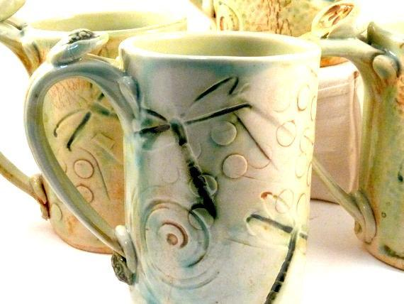 Personalized GRANDPA Mug with dragonflies and hearts -  16 ounce